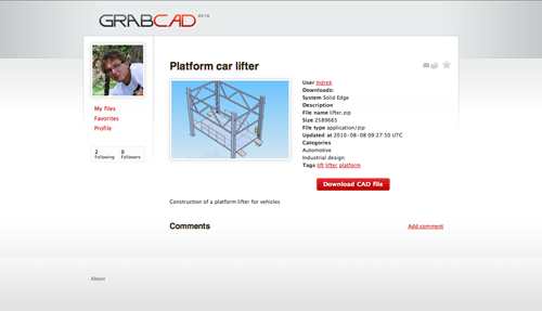 GrabCAD CAD library preview