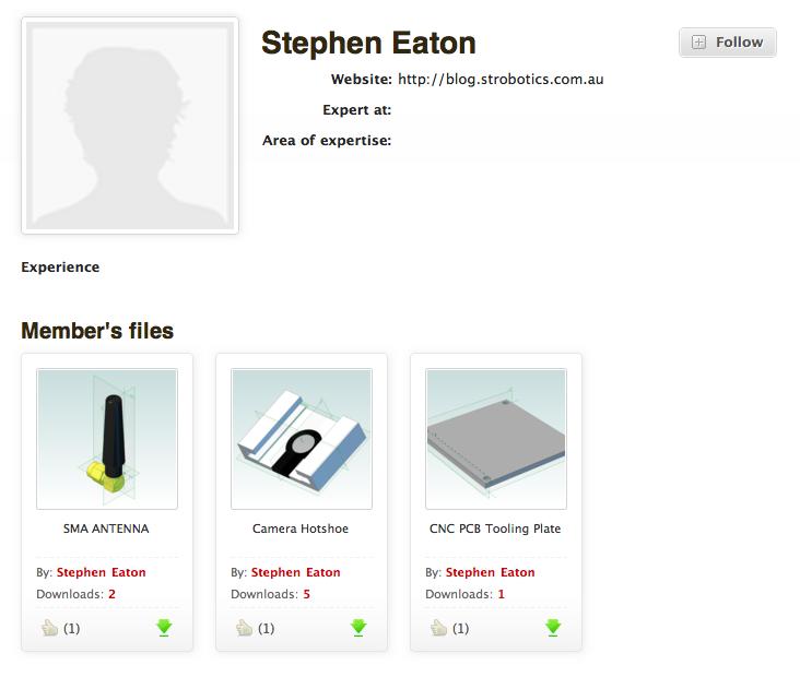 GrabCAD CAD library screenshot - user view