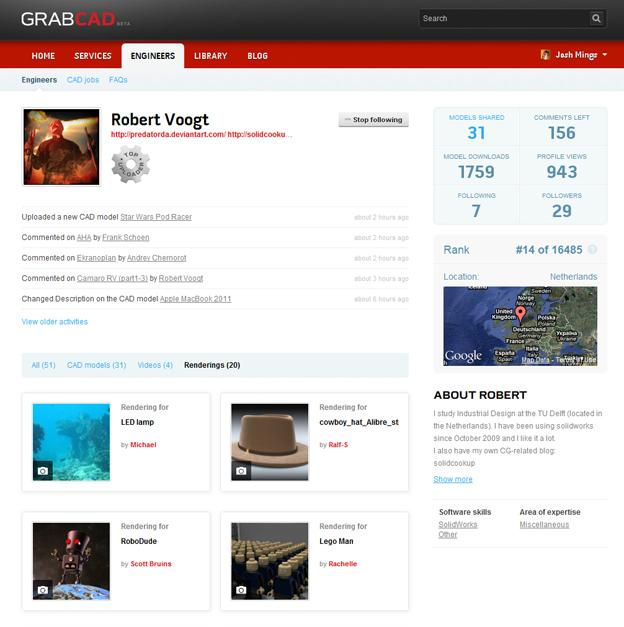 GrabCAD User profiles