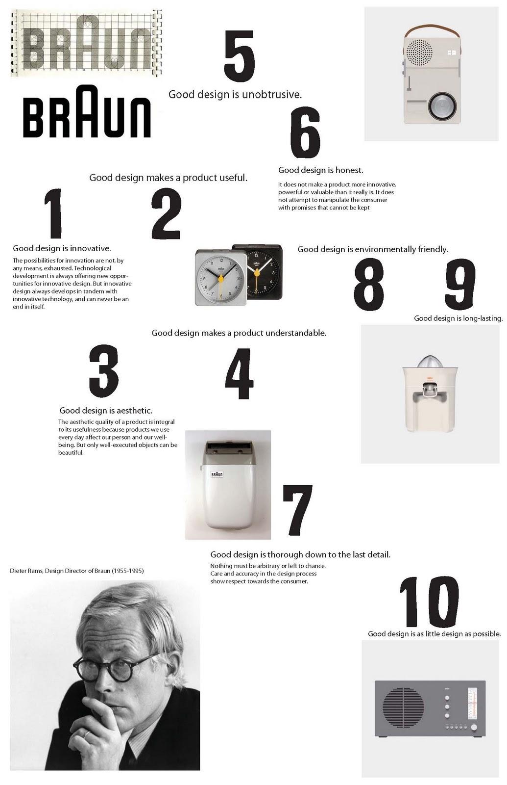 dieter rams ten rules of good design poster braun. Black Bedroom Furniture Sets. Home Design Ideas