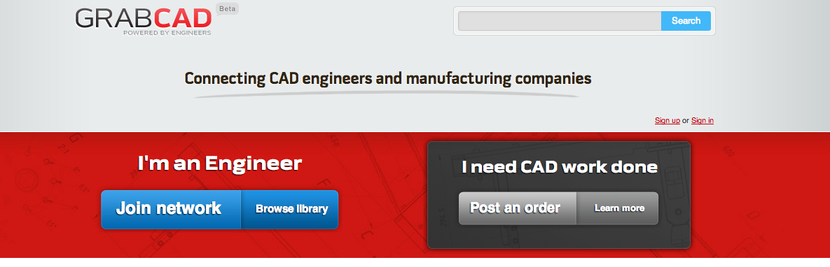 GrabCAD in February 2011 via The Wayback Machine