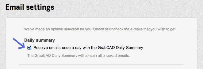 Daily Email Option from GrabCAD
