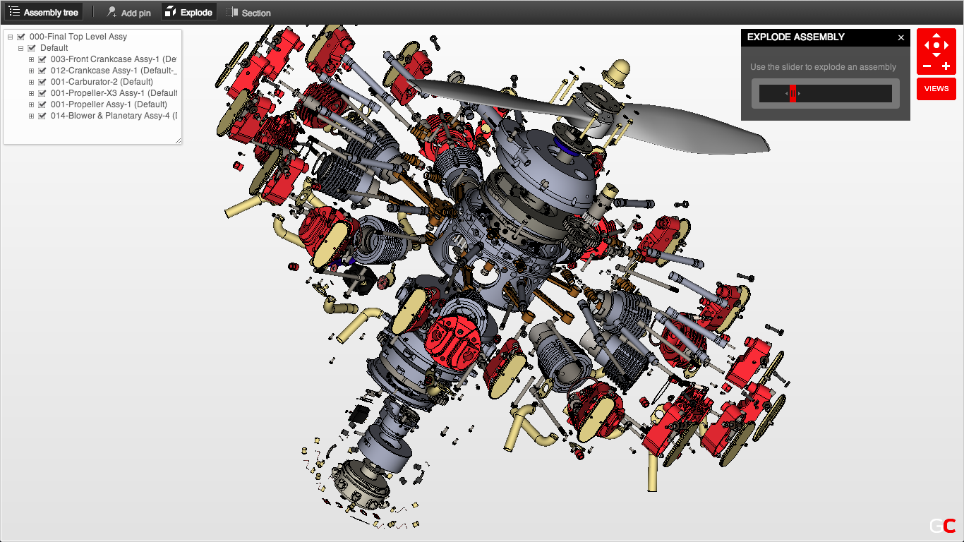 Radial Engine by Dave Goetsch on GrabCAD