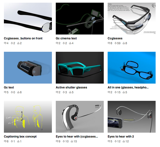 Entries for GrabCAD CC Glasses Challenge
