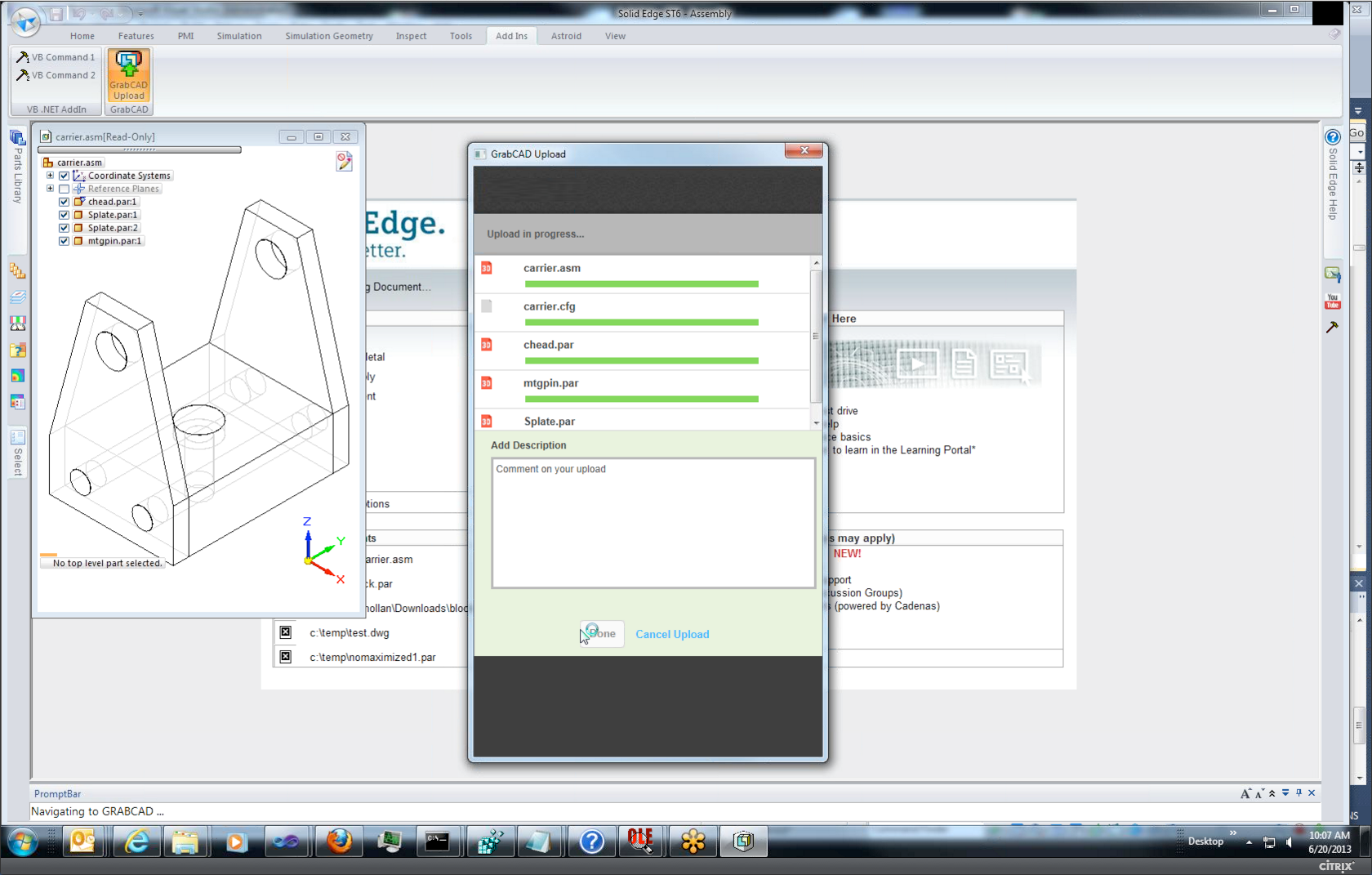 Solid edge is first cad system to publish directly to grabcad Cad system