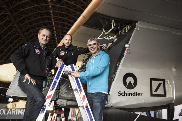 Larry Page of Google (right), André Borschberg and Bertrand Piccard with Solar Impulse