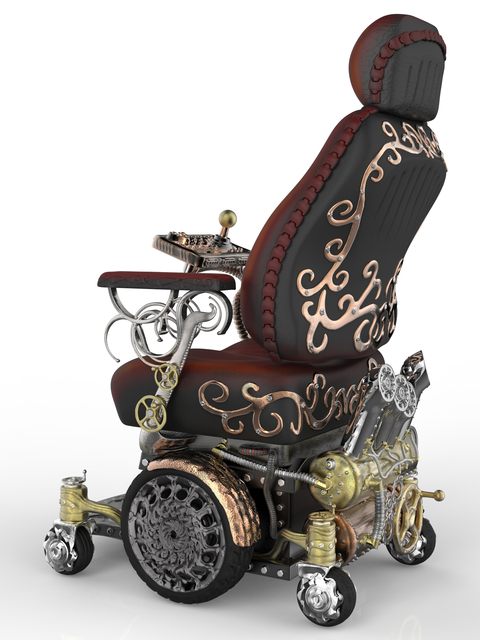 Challenge results steampunk wheelchair design for kyron for Steam punk chair