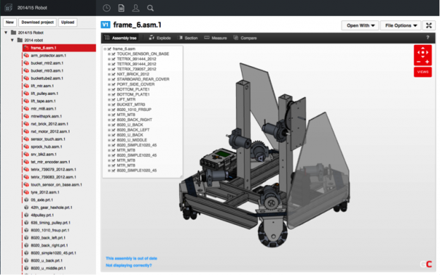 The Lincoln Sudbury Regional High School GearTick robot in GrabCAD Workbench.